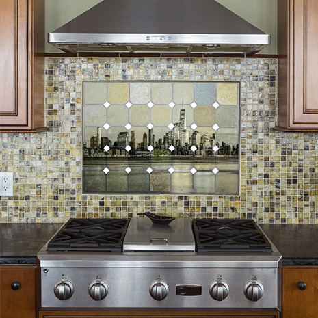 Image of a kitchen using printed tiles and a wall Panel
